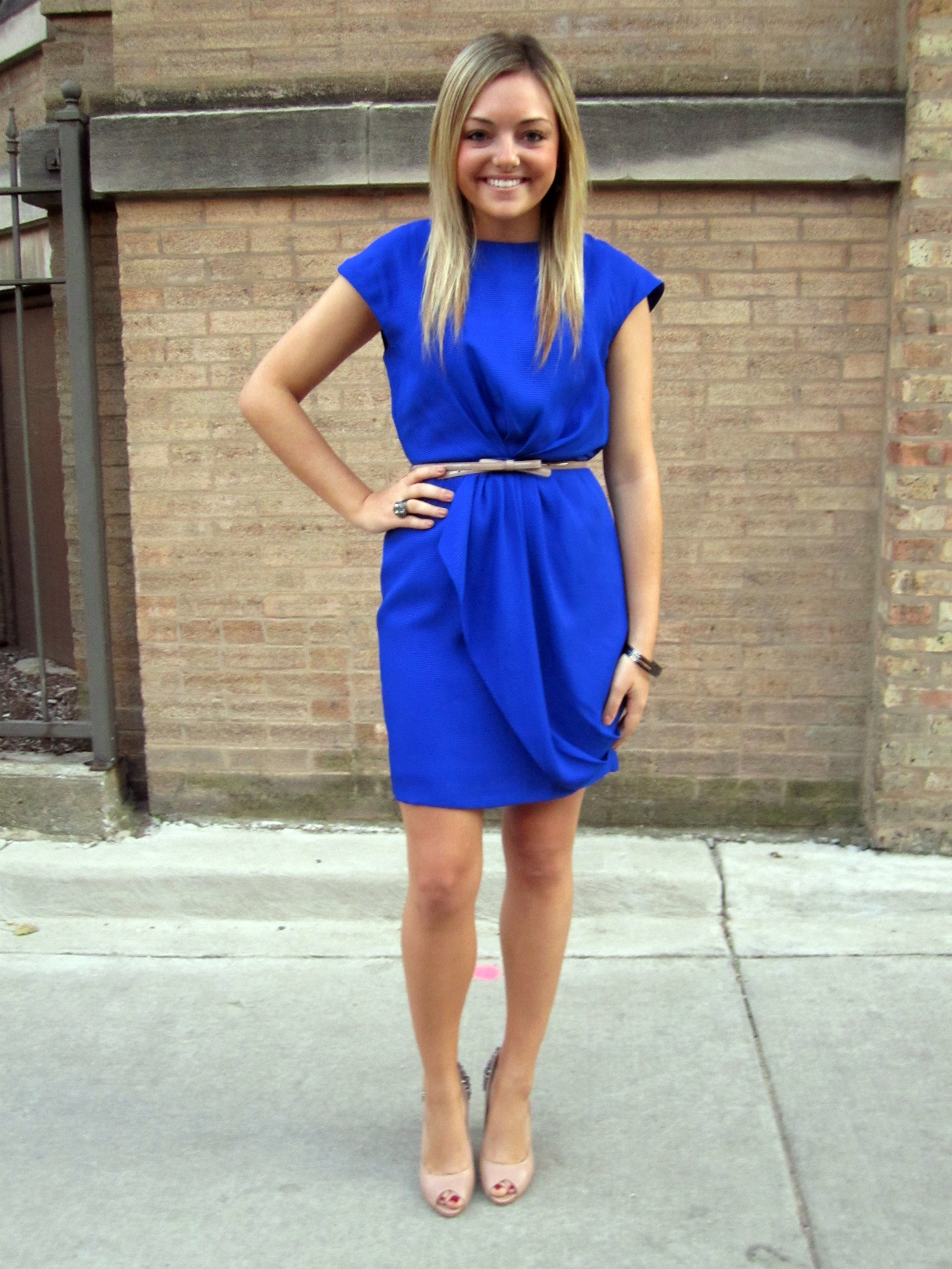Blue Dress With Nude Heels