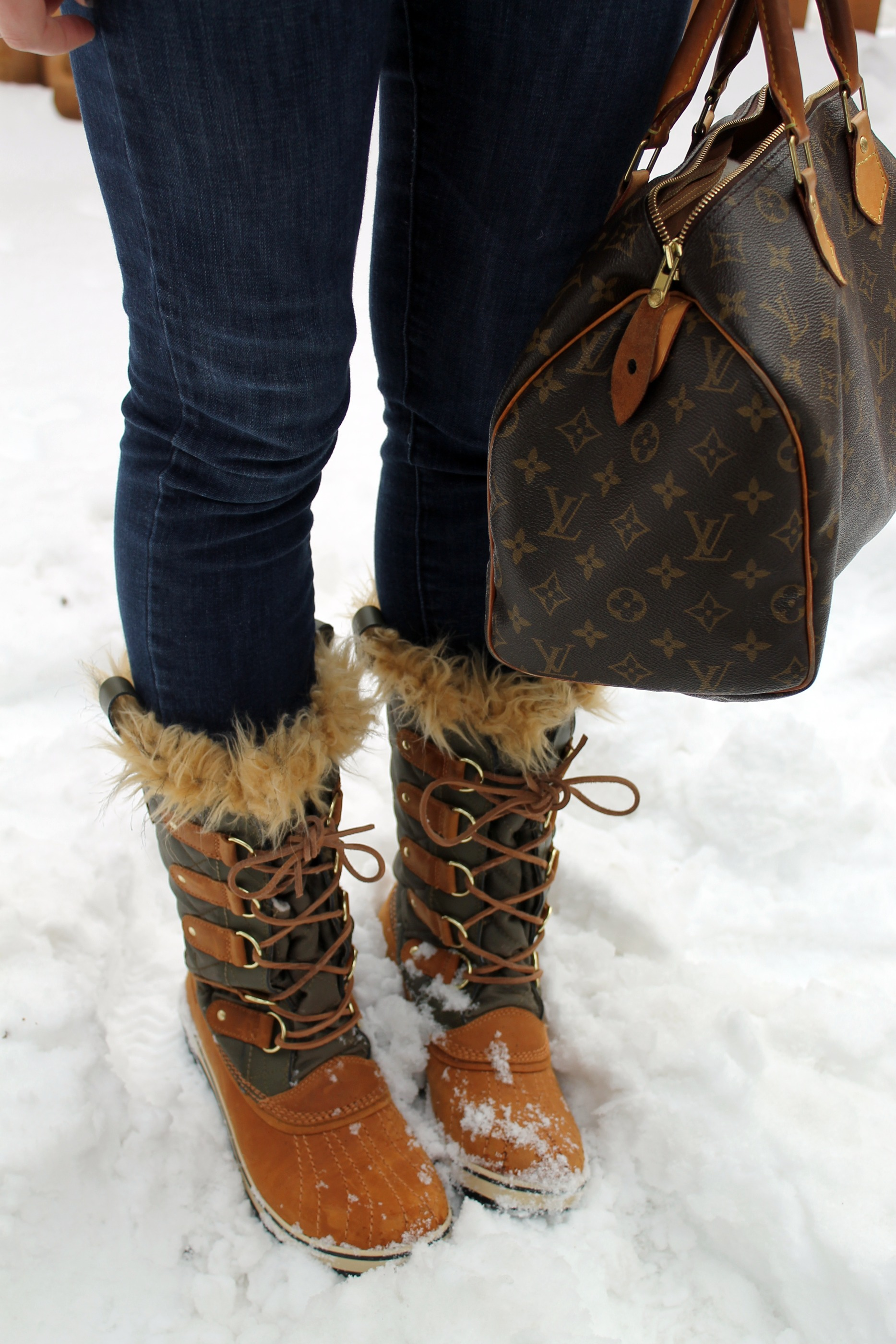 Snow & Sorels — bows & sequins